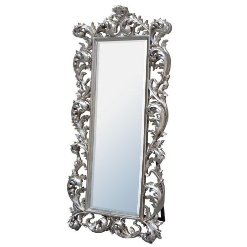 Baroque Silver Free Standing Mirror